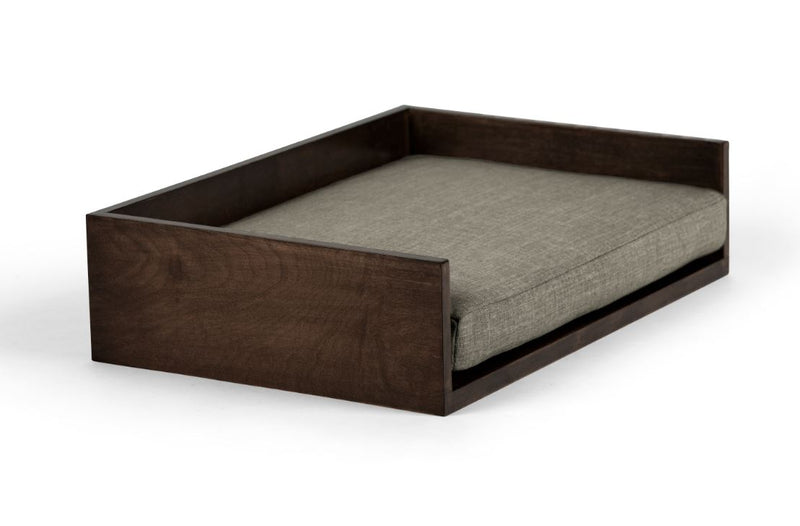 Open-Ended Pet Bed Pet Bed Cross Linen Weave Platinum / Chocolate / Large Whom. Home
