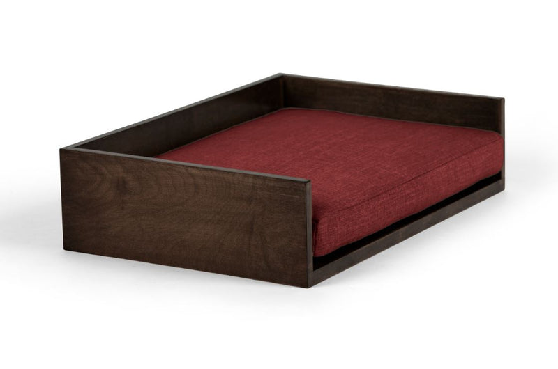 Open-Ended Pet Bed Pet Bed Cross Linen Weave Ruby / Chocolate / Large Whom. Home
