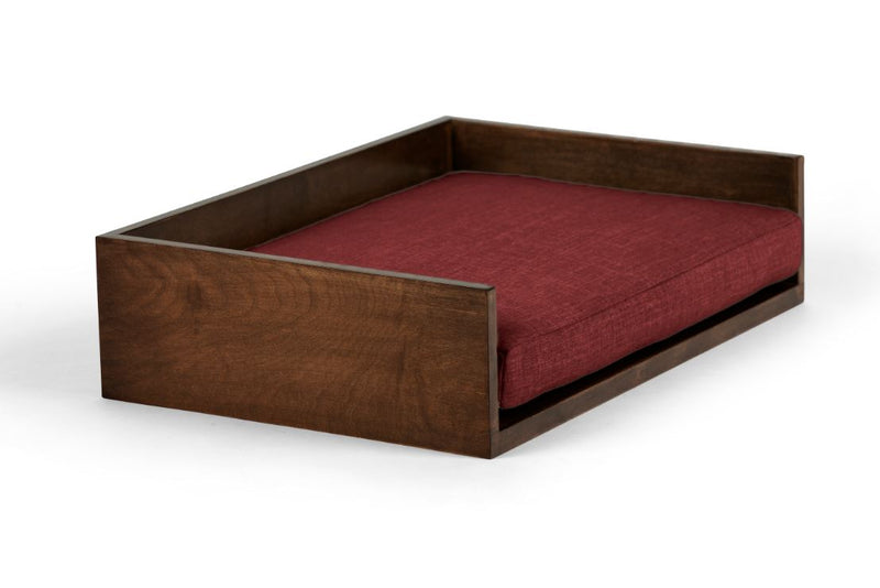 Open-Ended Pet Bed Pet Bed Cross Linen Weave Ruby / Hazel / Small Whom. Home
