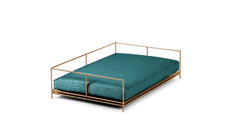 Alpha Pet Bed Pet Bed Cross Linen Weave Peacock / Brass / Large Whom. Home