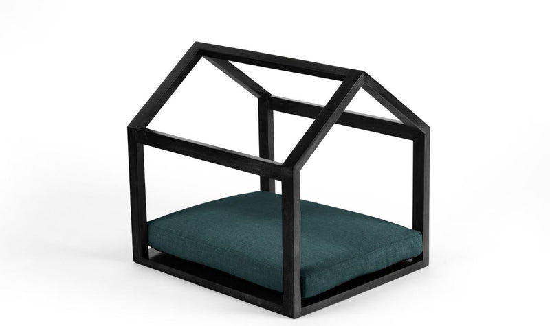 Cabana Pet Bed Pet Bed Cross Linen Weave Peacock / Black / Small Whom. Home