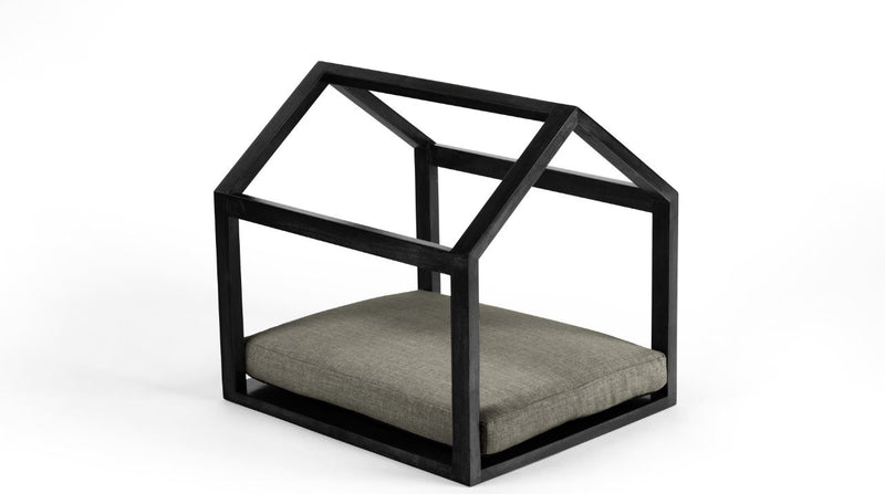 Cabana Pet Bed Pet Bed Cross Linen Weave Platinum / Black / Small Whom. Home