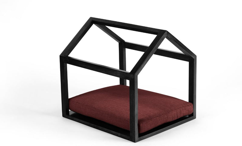 Cabana Pet Bed Pet Bed Cross Linen Weave Ruby / Black / Large Whom. Home