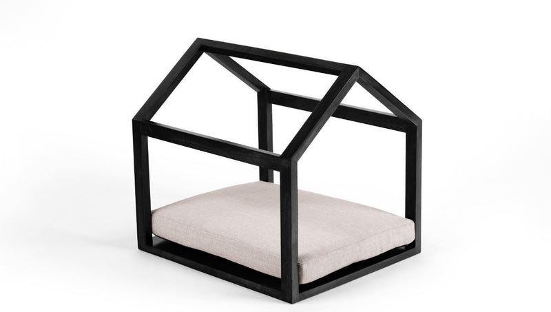 Cabana Pet Bed Pet Bed Cross Linen Weave Sand / Black / Large Whom. Home