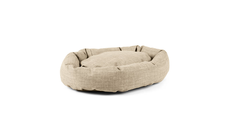Oval Comfy Pet Bed Pet Bed Cross Linen Weave Bone / Large Whom. Home