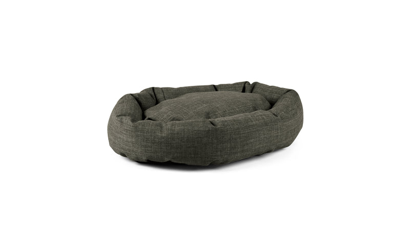 Oval Comfy Pet Bed Pet Bed Cross Linen Weave Charcoal / Large Whom. Home