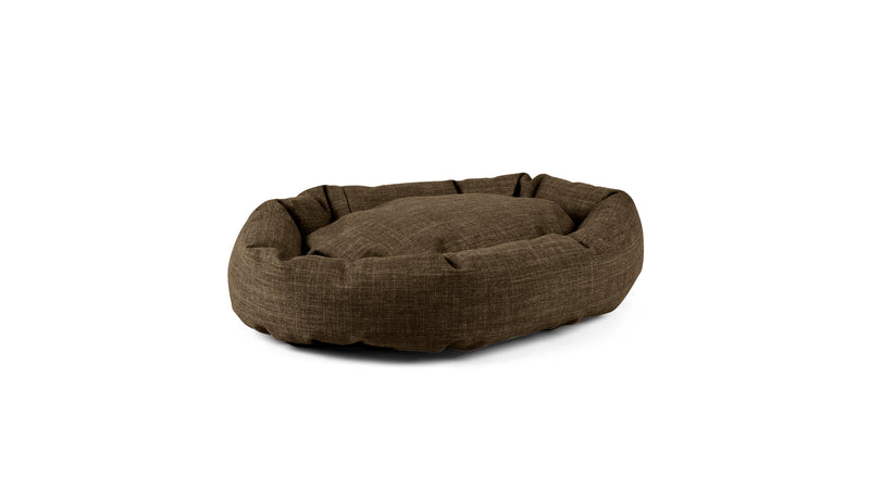 Oval Comfy Pet Bed Pet Bed Cross Linen Weave Chocolate / Large Whom. Home