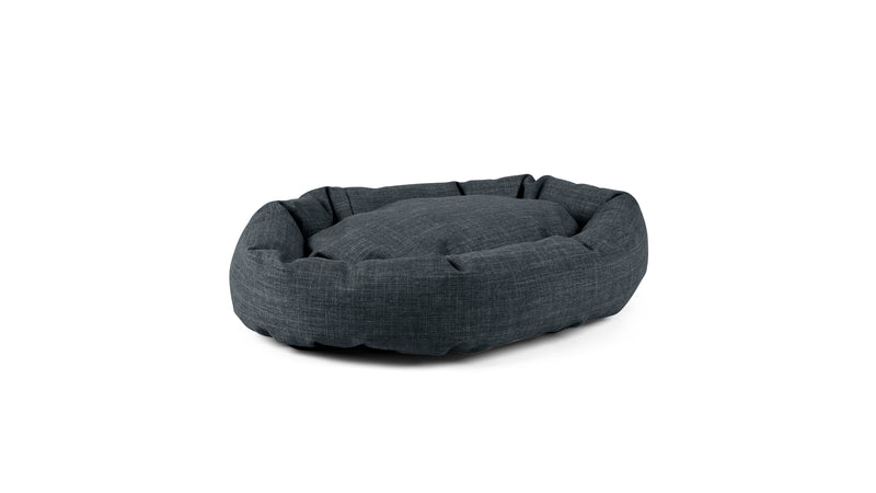 Oval Comfy Pet Bed Pet Bed Cross Linen Weave Denim / Large Whom. Home