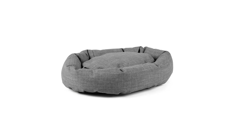Oval Comfy Pet Bed Pet Bed Cross Linen Weave Grey / Large Whom. Home