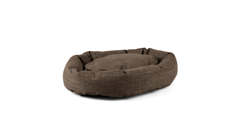 Oval Comfy Pet Bed Pet Bed Cross Linen Weave Mocha / Small Whom. Home
