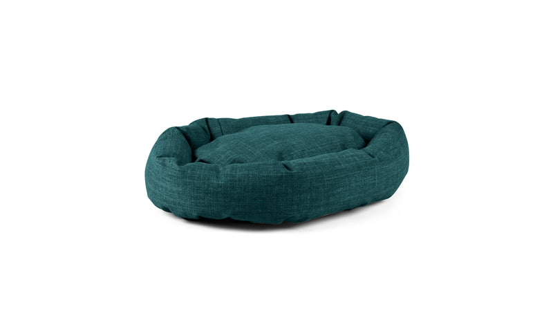 Oval Comfy Pet Bed Pet Bed Cross Linen Weave Peacock / Large Whom. Home