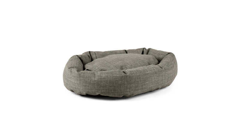 Oval Comfy Pet Bed Pet Bed Cross Linen Weave Platinum / Small Whom. Home