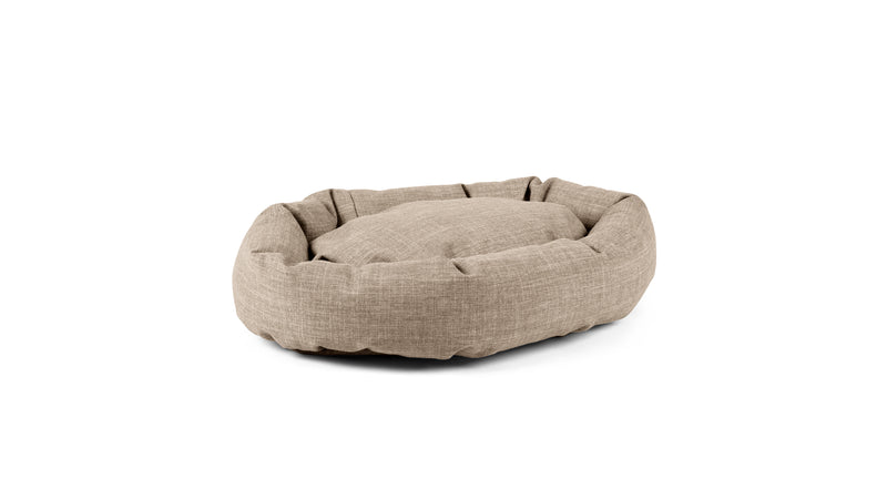 Oval Comfy Pet Bed Pet Bed Cross Linen Weave Sand / Large Whom. Home