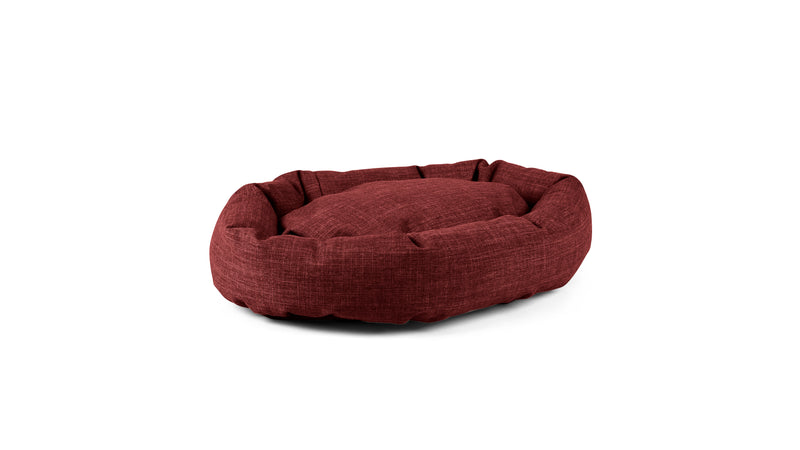 Oval Comfy Pet Bed Pet Bed Cross Linen Weave Ruby / Small Whom. Home