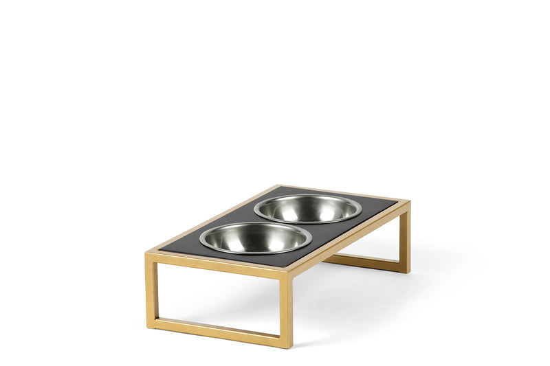Raisin' the Bar Pet Feeder Pet Bowl Brass & Silver / Black / Small Whom. Home