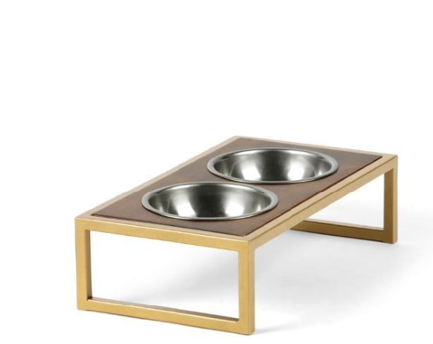 Raisin' the Bar Pet Feeder Pet Bowl Brass & Silver / Hazel / Small Whom. Home