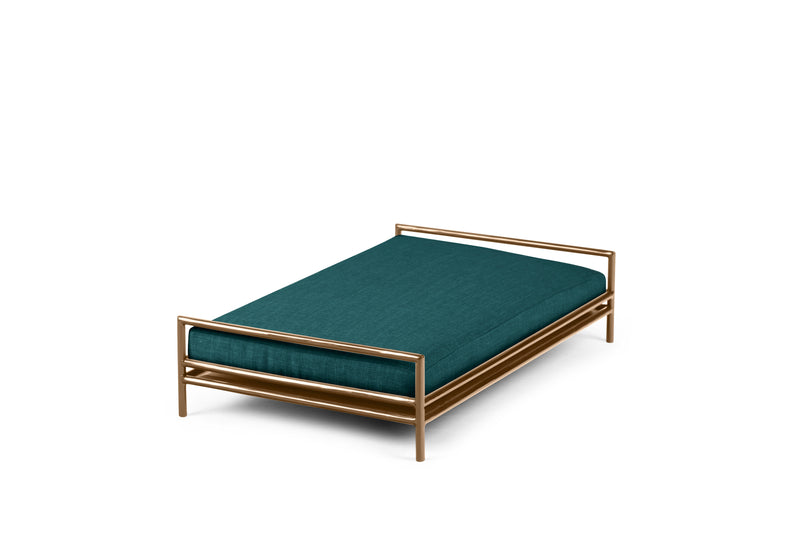 The Amorist Pet Bed Pet Bed Cross Linen Weave Peacock / Brass / Large Whom. Home