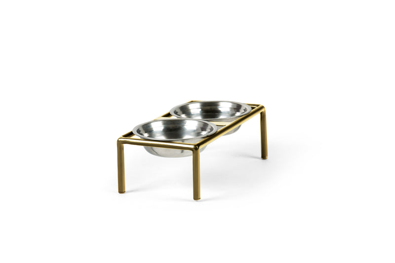Amorist Pet Feeder Pet Bowl Silver / Brass / Small Whom. Home