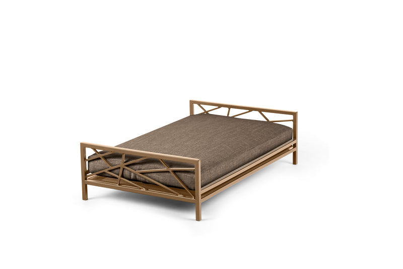 The Prodigy Pet Bed Pet Bed Cross Linen Weave Mocha / Brass / Small Whom. Home