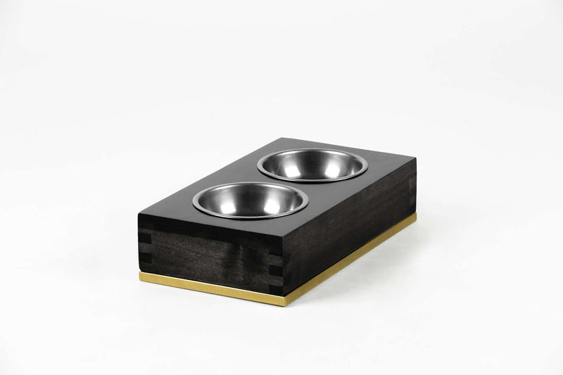Dovetail Double Pet Feeder Pet Bowl Large / Black / Brass Whom. Home