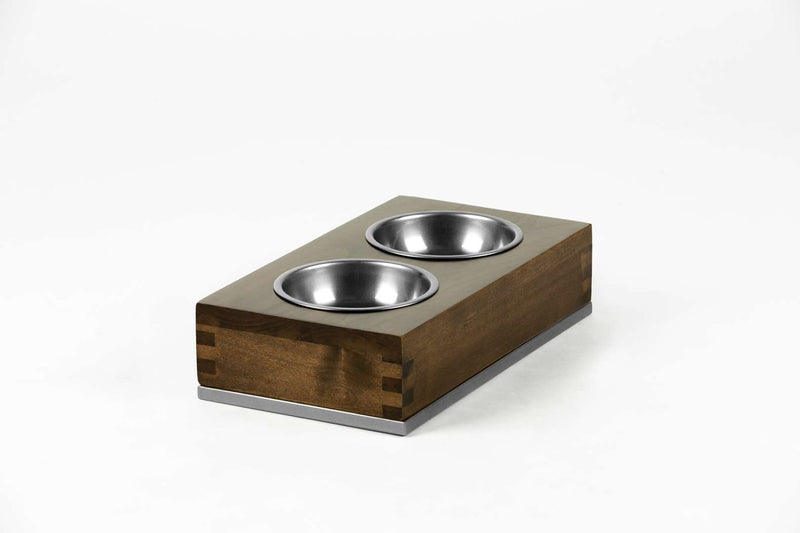 Dovetail Double Pet Feeder Pet Bowl Large / Chocolate / Silver Whom. Home