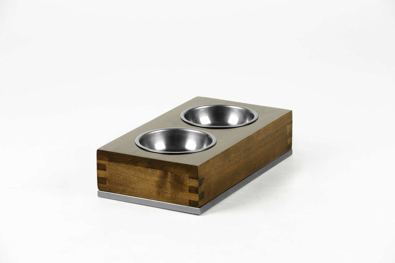 Dovetail Double Pet Feeder Pet Bowl Large / Hazel / Silver Whom. Home