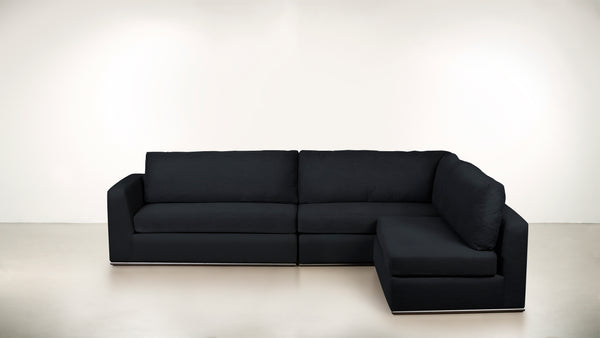 The Innovator Right-Facing Sectional R Modular Sectional Classic Linen Weave Navy / Black Whom. Home