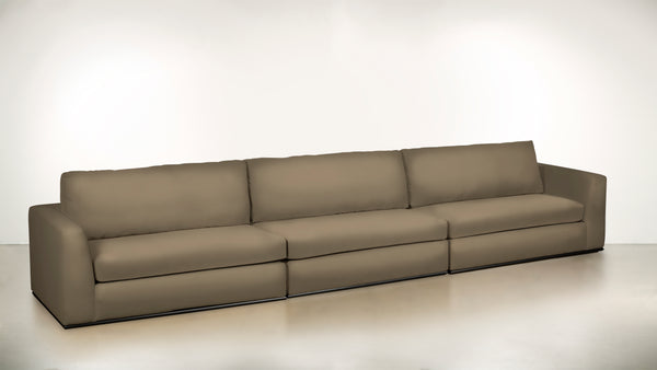 The Innovator Full Sectional Center Modular Sectional Structured Velvet Biscotti / Brass Whom. Home