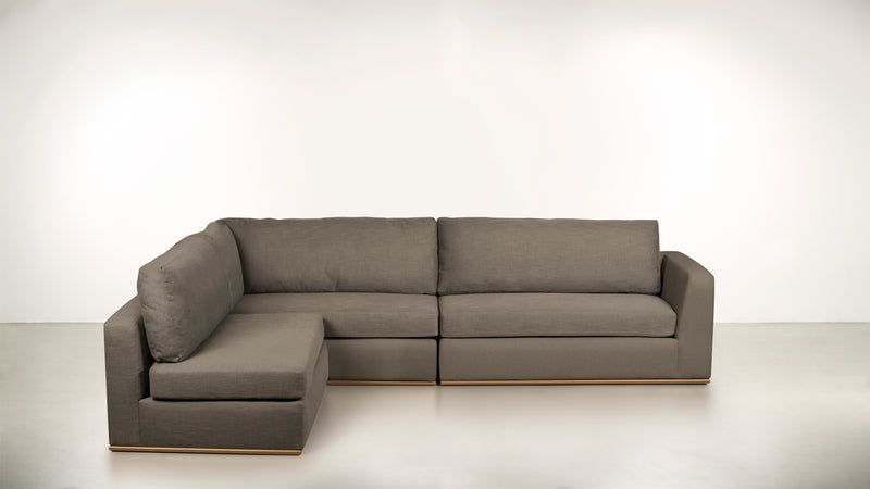 The Innovator Left-Facing Sectional L Modular Sectional CLASSIC LINEN WEAVE ALMOND / Brass Whom. Home
