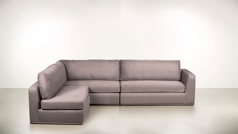 The Innovator Left-Facing Sectional L Modular Sectional CLASSIC LINEN WEAVE BLUSH / Black Whom. Home