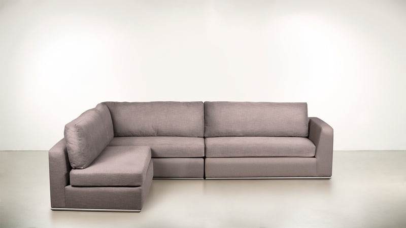 The Innovator Left-Facing Sectional L Modular Sectional CLASSIC LINEN WEAVE BLUSH / Silver Whom. Home
