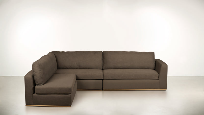 The Innovator Left-Facing Sectional L Modular Sectional CLASSIC LINEN WEAVE MINK / Brass Whom. Home