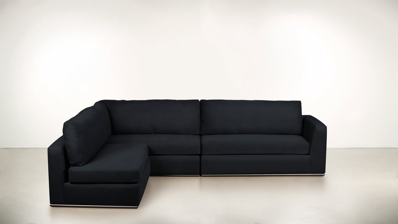 The Innovator Left-Facing Sectional L Modular Sectional CLASSIC LINEN WEAVE NAVY / Black Whom. Home