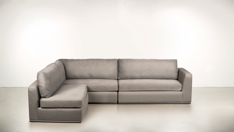 The Innovator Left-Facing Sectional L Modular Sectional CLASSIC LINEN WEAVE OATMEAL / Black Whom. Home