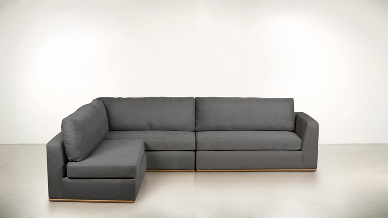 The Innovator Left-Facing Sectional L Modular Sectional CLASSIC LINEN WEAVE SMOKE / Brass Whom. Home
