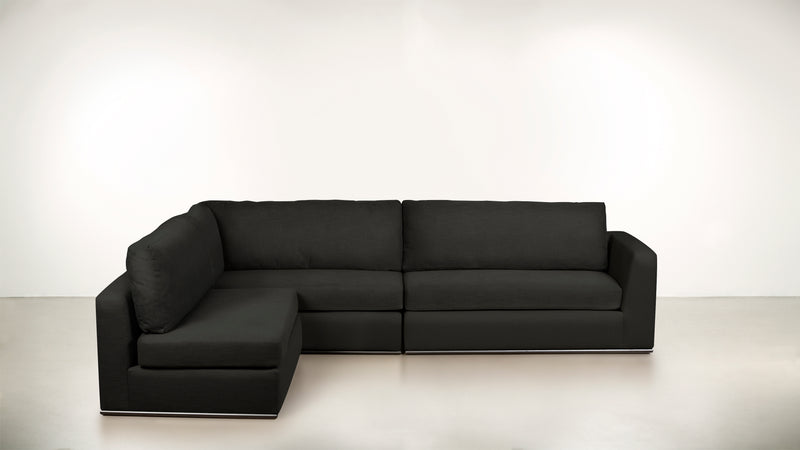 The Innovator Left-Facing Sectional L Modular Sectional STRUCTURED LINEN WEAVE CHARCOAL / Black Whom. Home