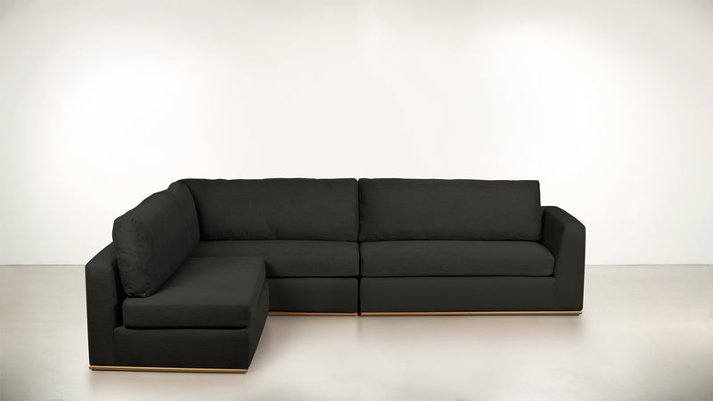 The Innovator Left-Facing Sectional L Modular Sectional STRUCTURED LINEN WEAVE CHARCOAL / Brass Whom. Home