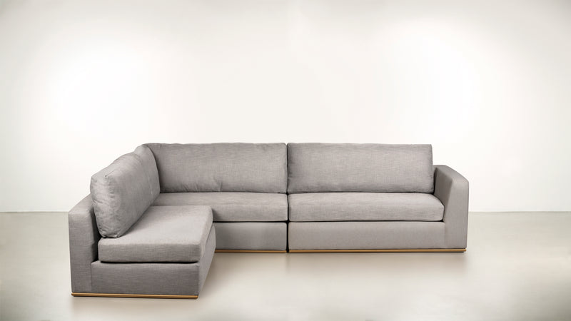 The Innovator Left-Facing Sectional L Modular Sectional Structured Linen Weave Dove / Brass Whom. Home