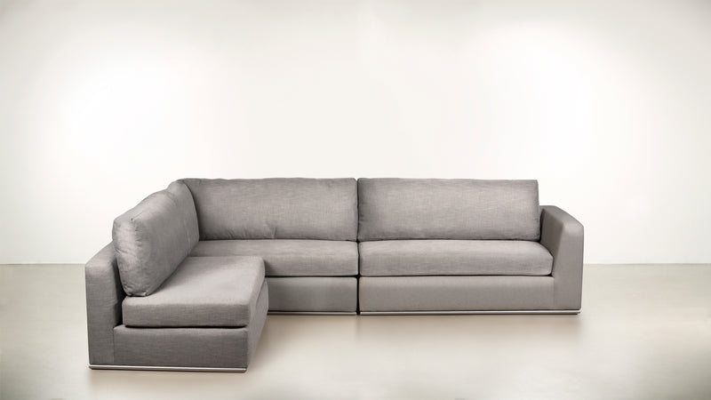 The Innovator Left-Facing Sectional L Modular Sectional Structured Linen Weave Dove / Silver Whom. Home