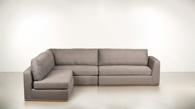 The Innovator Left-Facing Sectional L Modular Sectional Structured Velvet Weave Sand / Brass Whom. Home