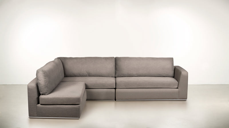 The Innovator Left-Facing Sectional L Modular Sectional Structured Velvet Weave Sand / Silver Whom. Home