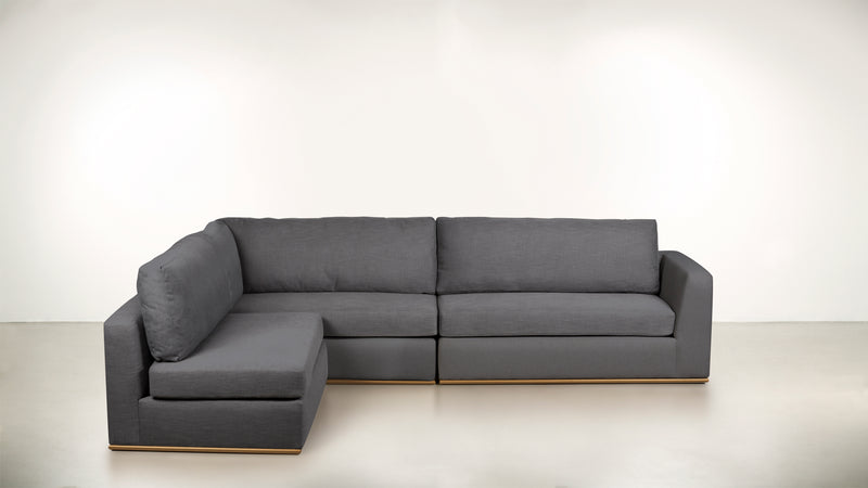 The Innovator Left-Facing Sectional L Modular Sectional Structured Linen Weave Steel / Brass Whom. Home