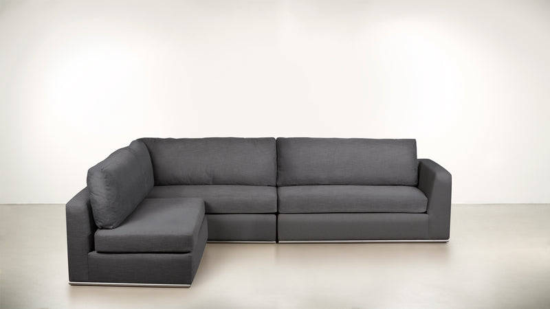 The Innovator Left-Facing Sectional L Modular Sectional Structured Linen Weave Steel / Silver Whom. Home