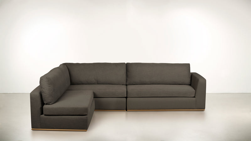 The Innovator Left-Facing Sectional L Modular Sectional Structured Linen Weave Taupe / Brass Whom. Home