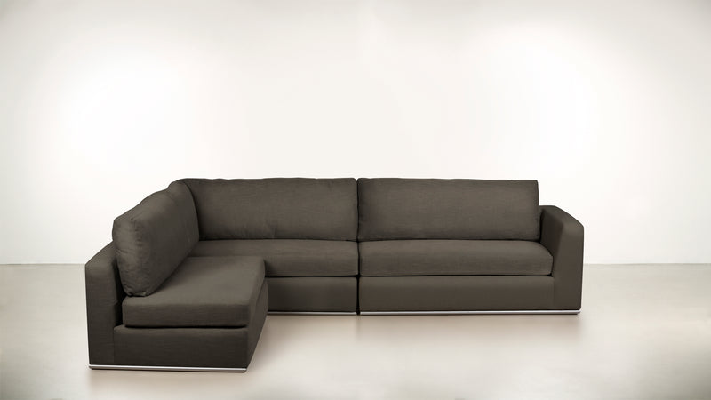 The Innovator Left-Facing Sectional L Modular Sectional Structured Linen Weave Taupe / Silver Whom. Home