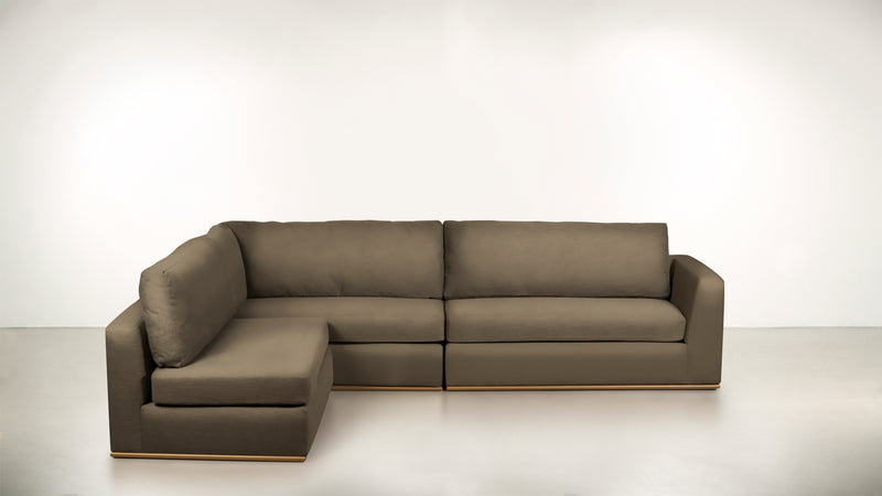 The Innovator Left-Facing Sectional L Modular Sectional Structured Velvet Biscotti / Brass Whom. Home