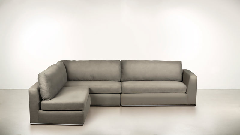 The Innovator Left-Facing Sectional L Modular Sectional Structured Velvet Divine / Black Whom. Home