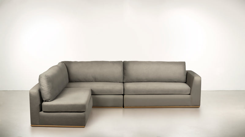 The Innovator Left-Facing Sectional L Modular Sectional Structured Velvet Divine / Brass Whom. Home