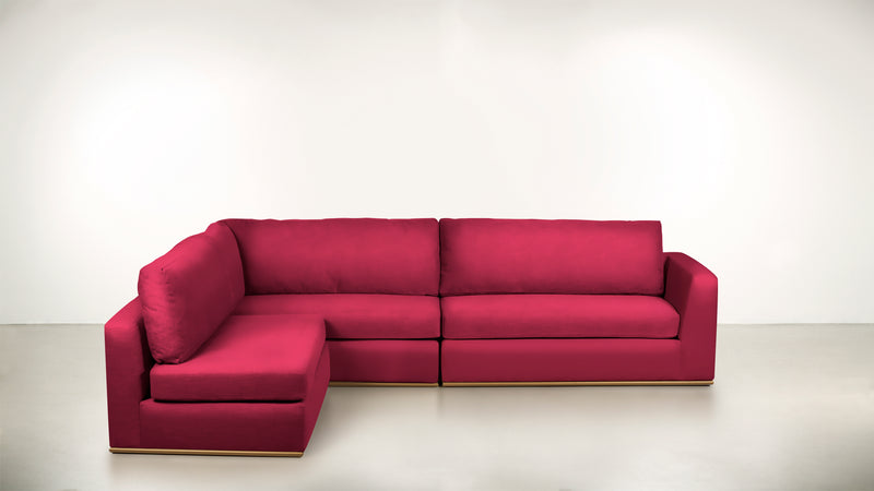 The Innovator Left-Facing Sectional L Modular Sectional Structured Velvet Flamingo / Brass Whom. Home
