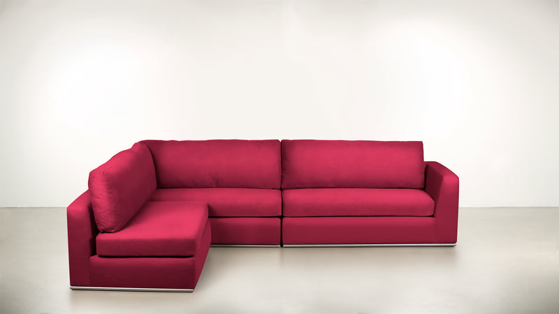 The Innovator Left-Facing Sectional L Modular Sectional Structured Velvet Flamingo / Silver Whom. Home